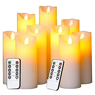 Evenice Flameless Candles LED Candles Flickering Battery Operated Flickering Light Pillar Real Smooth Wax with Timer and 10-Key Remote for Wedding(Set of 9)