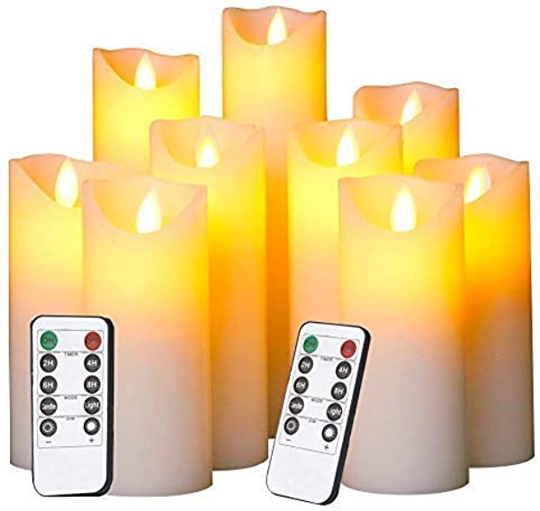 Evenice Flameless Candles LED Candles Flickering Battery Operated Flickering Light Pillar Real Smooth Wax With Timer And 10 Key Remote For Wedding Set Of 9