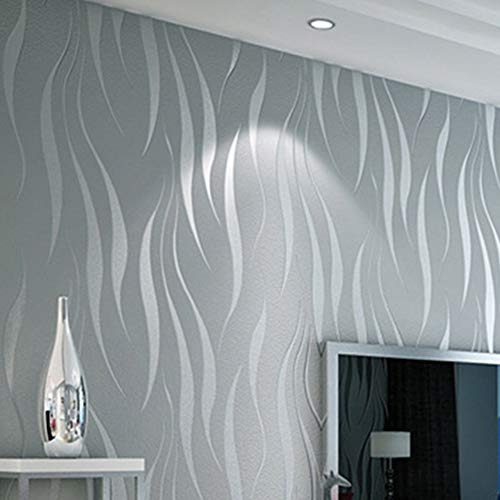 Takefuns Rollo de papel pintado geométrico abstracto moderno 3D para dormitorio, sala de estar, suministros para decoración...