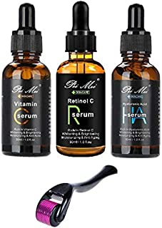 Anti-Aging Serum Set Of 3pc Vitamin C, Retinol And Hyaluronic-Acid For Face Neck Moisturizing And Anti-Wrinkle With Free Derma Roller