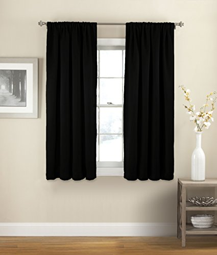"ECLIPSE Room Darkening Curtains for Bedroom - Solid Thermapanel 54"" x 54"" Thermal Insulated Single Panel Rod Pocket Light Blocking Curtains for Living Room, Black"