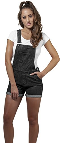 Urban Classics Damen Ladies Short Dungaree Latzhose, Schwarz (Black Washed 00709), XXXX-Large
