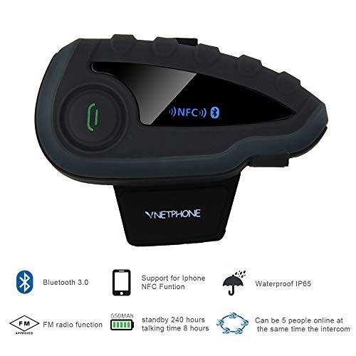QUARKJK 1200m Wireless V8 Helmet Headset Motorcycle Bluetooth Intercom Waterproof Intercomunicador for 5 Riders Best Helmet Intercom