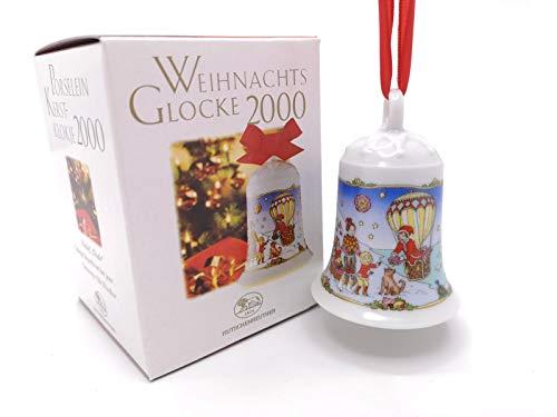 Hutschenreuther Weihnachtsglocke 2000, Anhänger, Porzellanglocke, Baumschmuck, Baumanhänger, Weihnachten