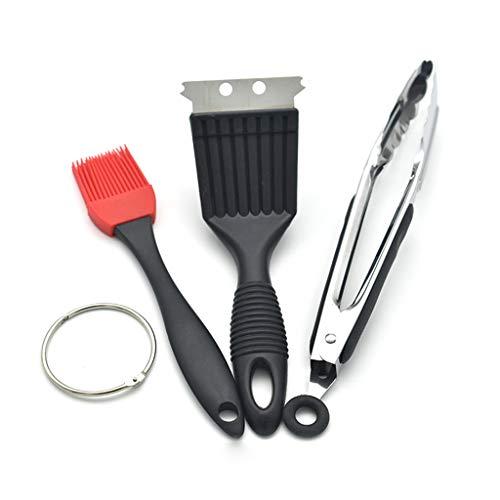Lot de 3 accessoires pour barbecue avec clip alimentaire 22,9 cm, brosse en silicone, brosse métallique