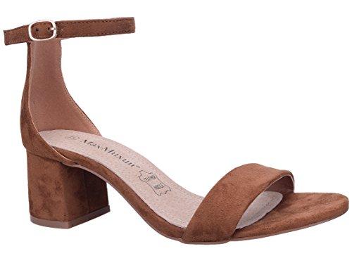 MaxMuxun Zapatos de Tacón Bajo Cuadrado Clásico con Cordones y Hebillas para Mujer
