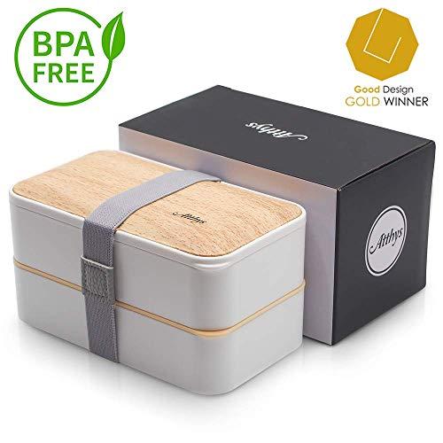 Atthys® Lunch Box Bambou Blanc | Bento Japonais Design 3 Couverts Offerts | Bento Box 2 Compartiments Hermétiques 1200 ML | Micro-Ondes Lave-Vaisselle | Boîte Déjeuner Bois Adulte ou Enfant