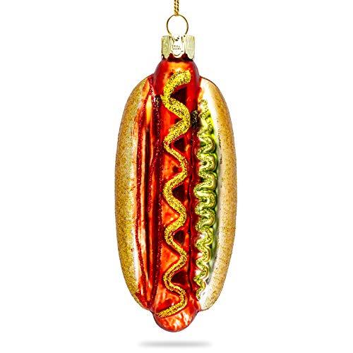 SIKORA BS468 Hot Dog Adorno de Árbol de Navidad Decoración Brillante de Vidrio