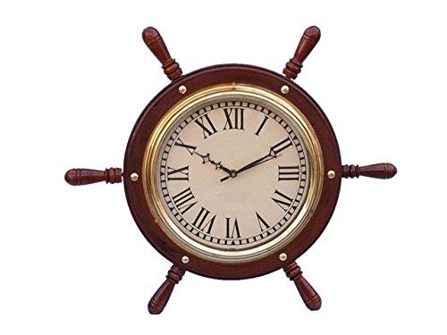 Hampton Nautical SW-1753 Solid Wood & Brass Ship Wheel Clock 15' Nautical Home Decoration