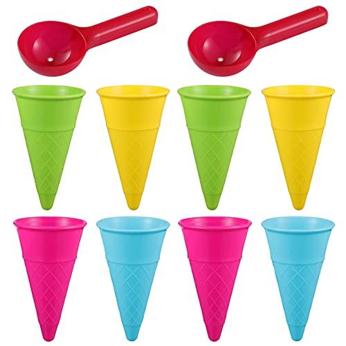 NUOBESTY Juego de juguetes de playa para niños, juego de moldes de arena de helado con conos de helado y cuchara de arena para fiesta de verano, 10 piezas de color al azar