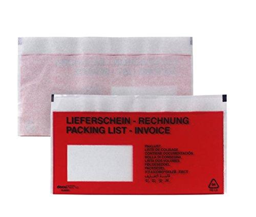 Begleitpapiertasche DL (110x220mm) haftklebend mit Fenster Polyethylen 50my bedruckt 1000 Stück
