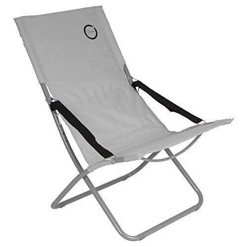Nexos Campingstuhl klappbar Stahlrohr Gartenstuhl bis 110 kg abwaschbar pflegeleicht 80x60x92 cm 600D Farbe wählbar (Grau)