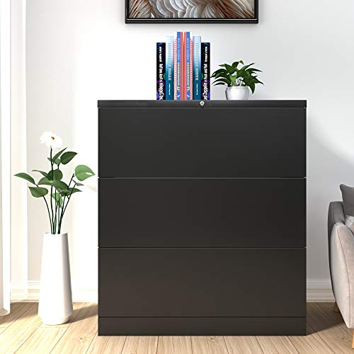 DANGRUUT Exquisite Lateral File Cabinet 3 Drawers, Best Thicken Metal Steel Filing Cabinet with Lock, Home Office A4, F4, Letter Sized and Legal Sized File Black Storage, Anti-tilt Structure, Lockable
