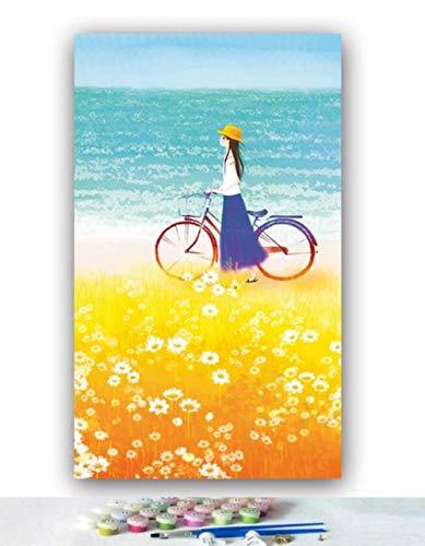 Yqgdss Ölgemälde Nach Zahlen DIY Stroh Mädchen Fahrrad Im Weizen Feld Bild Färbung Dekor Digital Leinwand Pinsel Geschenk Zeichnung Handgemalte Einzigartige Kits Holzrahmen-30x40cm