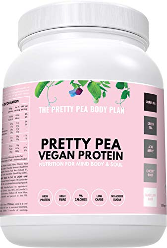 Vegan Protein Powder + Superfoods by Pretty Pea | Free Smoothie Guide | Low Calorie | Low Carb | Low Fat | Meal Replacement Shake | Gluten Free | Soy Free | No Artificial Sweetener | UK | 500g