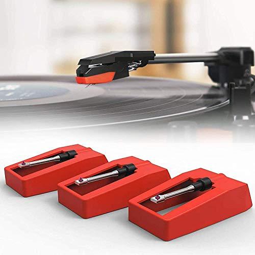 Aguja para tocadiscos, agujas de repuesto para tornamesa universal de 3 piezas para la mayoría de vinilos Crosley/ION/Jensen/Victrola / 1byone Record Player