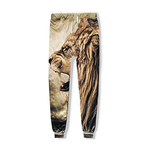 SMYUI Cappuccio Stampa di Felpa Sportiva con 3D Pantaloni Camicia da Uomo con Cappuccio Modello Lion -730# Pantaloni Testa Leone Grandi