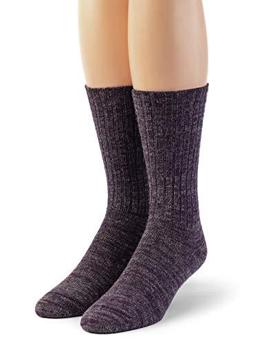 Warrior Alpaka-Socken – Damen gerippte Freizeitsocken für den Alltag aus Alpakawolle -  Violett -  Medium