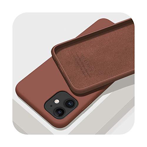 Funda de silicona líquida original para Apple iPhone 11 12 Pro Max mini 7 8 6 6S Plus XR X XS MAX 5 5S SE a prueba de golpes cubierta marrón para iPhone 12