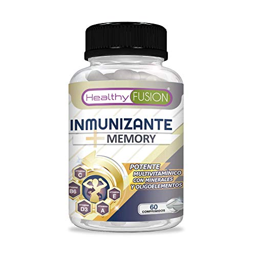 Complejo multivitamínico a base de vitaminas y minerales | Multivitamínico con vitaminas C, E, B3, B5, A, B6, B2, B1, B9, B12, D3, zinc y hierro | Mejora y fortalece la memoria | 60 comprimidos