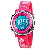 BIGMEDA Reloj Digital para Niños Niña, Luz Intermitente LED de 7 Colores Reloj de Pulsera Niña Multifunción, para Niños de 3 a 12 años (Flamenco)