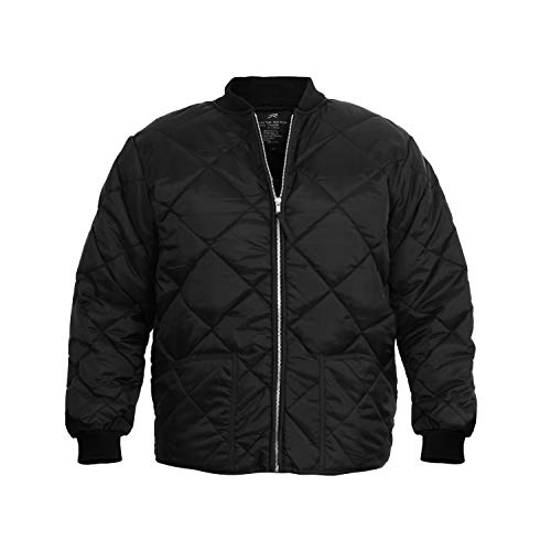 ROTHCO Diamond Quilted Flight Jacket, Black, Large