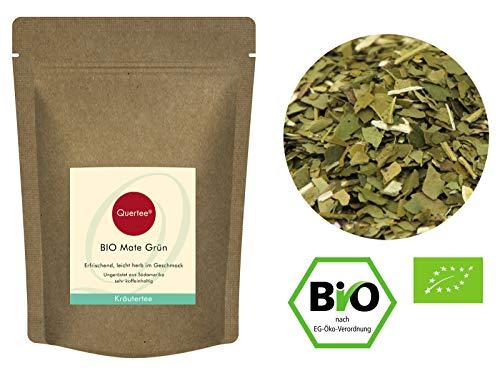 Quertee - Mate Tee Bio - Ungeröstet | Grüner Bio Matetee | Koffeeinhaltig | Mate Yerba Mateblätter | Mate Bio (500 g)