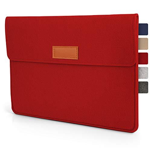 Tablet Tasche Hülle 10.1 - 11 Zoll aus Filz I für Geräte bis zu 28,5 x 19,5cm I Universal für iPad, Samsung, Huawei I iPad Sleeve und Tablet Schutzhülle, Rot