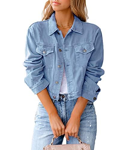 Eghunooye Damen Jeansjacke Reverskragen Kurz Lässig Denim Jacket mit Knöpfen Stretch Jacke Sommer Frühling Mantel Coat Outwear S M L XL XXL (Blau, Medium)