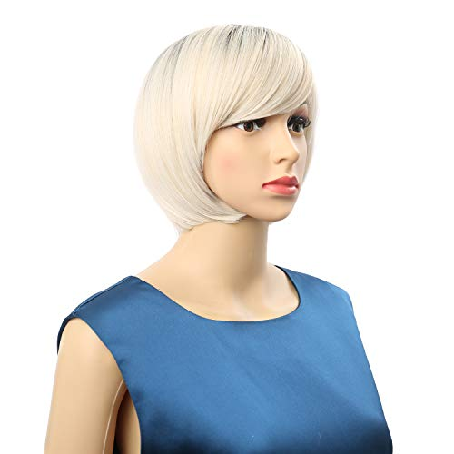 """VCKOVCKO Ombre Color Short Bob Wigs With Air Bangs Free Parting 2 Tones For Women Cosplay wig for Girl Colorful Costume Wigs(8"""",Black-Silver)"""