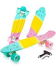 ألواح التزلج VNSKE للفتيات، لوح تزلج صغير كامل 55.88 سم، سطح بلاستيكي من البولي بروبيلين غير سام ولا طعم له (البولي بروبيلين) للمبتدئين والشباب والأطفال والمراهقين مع أداة تزلج متكاملة على شكل حرف T