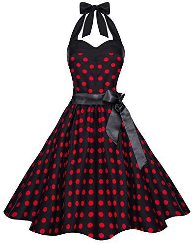Zarlena Damen 50er Retro Rockabilly Pola Dots Petticoat Neckholder Kleid Schwarz mit roten Dots Large 612-L