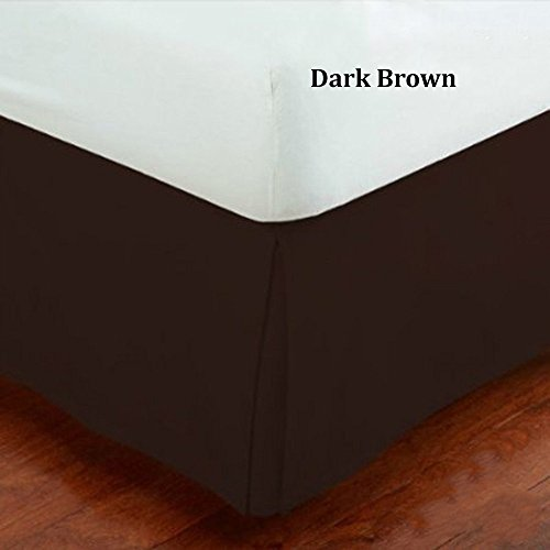 Hotel Collection Bedskirt Bed Ruffle Solid Pleated Brushed Soft Microfiber Fabric Top 14' Drop New (Brown/Coffee, Queen)