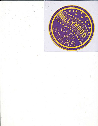 Hollywood City of the Stars 1950's luggage Label Sticker