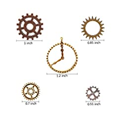 Teenitor 100 Gram Assorted Antique Steampunk Gears Charms Cogs Pendant Clock Watch Wheel Gear for Crafting Jewelry Making Accessory Bronze Copper Gold & Silver Mixed Color (Approx 70pcs) #1