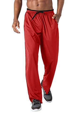 KEFITEVD Jogginghose Herren Leicht Dünn Sporthose Lang Größe Atmungsaktiv Stretch Fitnesshose Lässig Freizeithose mit Reißverschluss-Taschen Rot-Schwarz XL