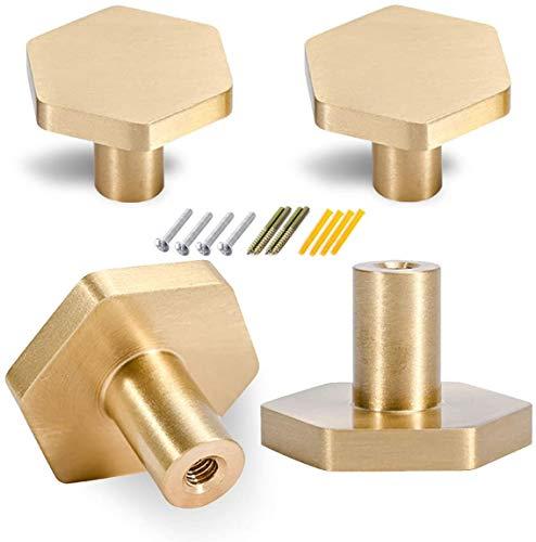 Perillas de latón macizo, pomos hexagonales de cajón dorados, mango de cobre puro con tornillos para puerta de armario, puertas de gabinete y cajones de aparador (4 piezas)