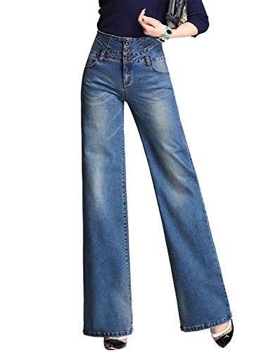 Jeans a Zampa di Elefante Svasati Classici Vita Alta Push-Up Blu Pantaloni Denim Larghi Blu Scuro 2 Small