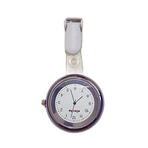 Ellemka JCM-2103 Elle - Reloj de bolsillo analógico para enfermeras (mecanismo de cuarzo, correa de plástico ABS con clip), color morado