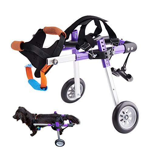 Dog Wheelchair Lightweight Adjustable Pet Wheelchair with 2 Wheels for Back Legs Rehabilitation Protect Spin-Purple XS