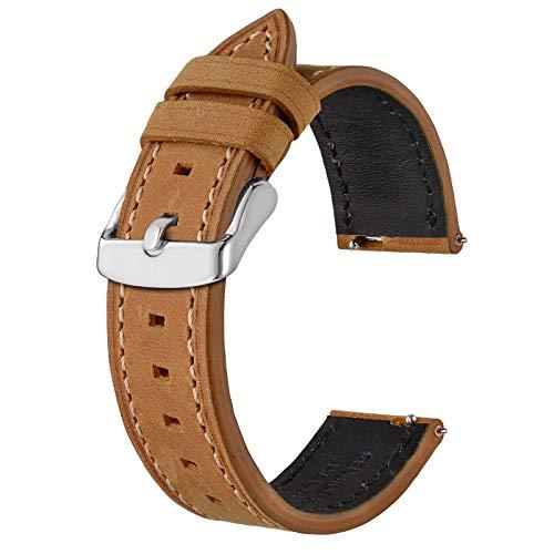 BISONSTRAP Correas de Reloj de Cuero 20mm, Correa de Repuesto de Liberación Rápida para Hombres y Mujeres, Broncearse