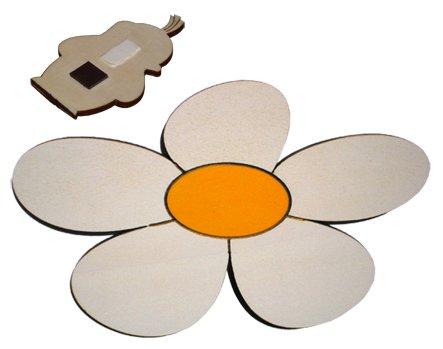 Imán de madera flor margarita