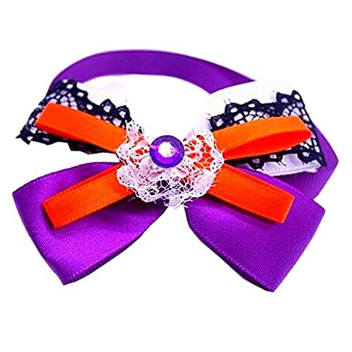 Collar de pajarita para perro de Halloween, gato de mascota, cachorro, pajaritas de cuello elegante, chico, XS S M (encaje negro púrpura)