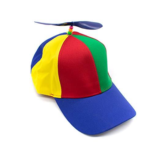 AUEAR Detachable Adult Propeller Hat Baseball Cap Rainbow Top Hat Brightly Rainbow Color
