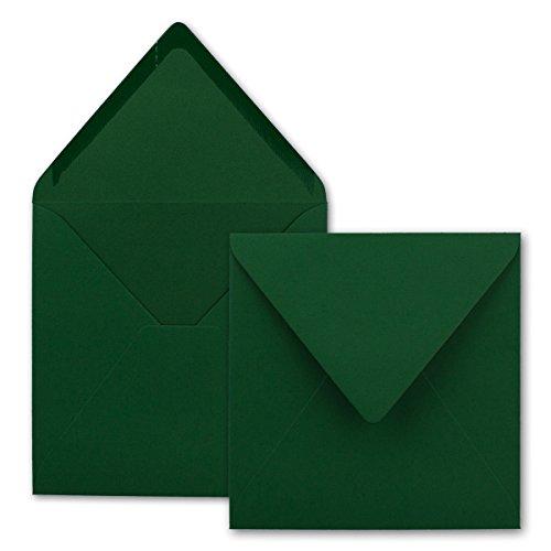 Quadratische Brief-Umschläge ohne Fenster in Dunkelgrün - 50 Stück - 15,5 x 15,5 cm - Nassklebung - Für Hochzeits-Karten, Einladungskarten und mehr - Serie FarbenFroh®