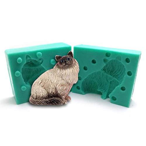 3D Gato/Perro Molde Silicona Fondant Mousse Decoración de Tartas Chocolate Pasta Goma Pudin Horneado Molde, Jabón Vela Arcilla Plantillas Fabricación Forma Animales Yeso Resina Bricolaje Pan