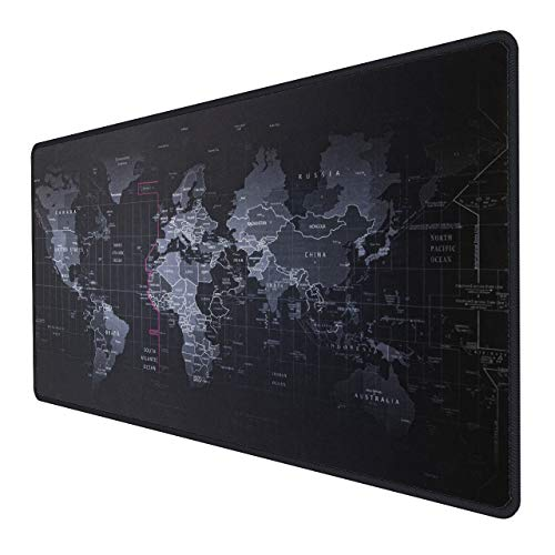 INPHIC Extended Gaming Mouse Pad Large with Anti-Fray Cloth and Water-Resistant,Mousepad Map Computer Keyboard Mouse Mat, Comfort Textured Surface for Gamer, Office & Home -27.7×12×0.12in -Black
