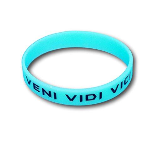 Juego de 3pulseras de fitness con frases a elegir–Pulseras de silicona en azul, verde, rosa– Pulseras de EKNA que brillan en la oscuridad., Veni Vedi Vici