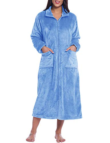 Joyaria Damen Morgenmantel Hausmantel Flauschig Fleece Kuscheliger Microfaser Warm(Blau,L)