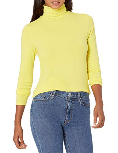 Amazon Essentials Women's Classic-Fit Long-Sleeve Turtleneck Top, Bright Yellow, XX-Large